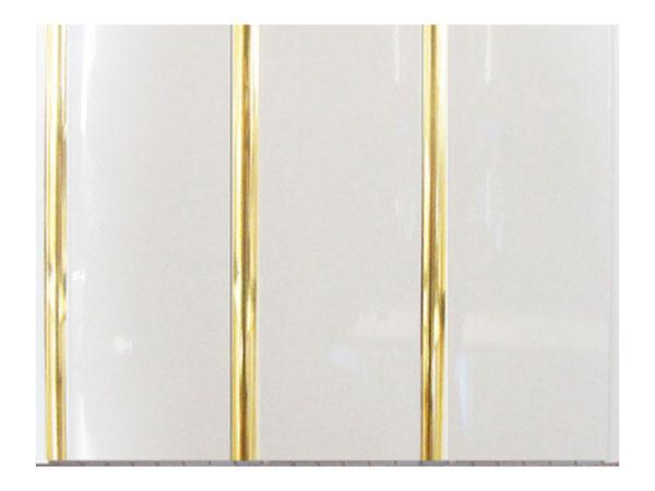 Потолочные белые ПВХ панели «Полоса золото» 3-х секционная